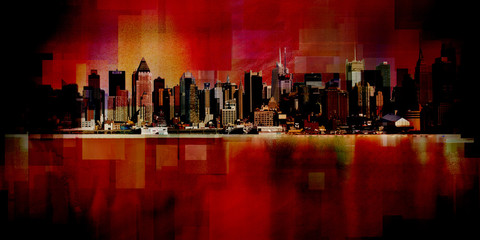 Manhattan. Modern art. New York cityscape