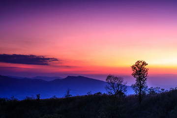 Beautiful sunset on the high mountain in Loei province, Thailand.