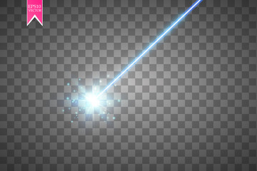 Abstract blue laser beam. Isolated on transparent black background. Vector illustration,