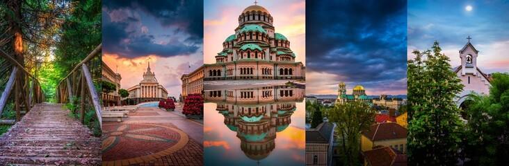 Sofia capital city of Bulgaria photo collage