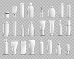 Realistic plastic cosmetic bottles mock up bundle
