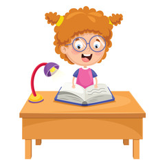 Vector Illustration Of Kid Reading