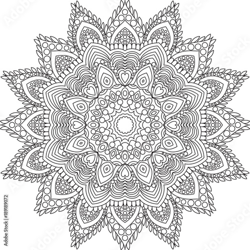 Outline Mandala For Adult Coloring Book Page Decorative Round Ornament Background