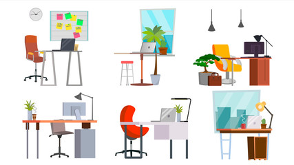 Office Workplace Set Vector. Interior Of The Office Room, Creative Developer Studio. PC, Computer, Laptop, Table, Chair. Isolated Flat Illustration
