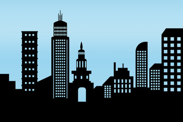 cityscape black architectural building icon. design silhouette flat style on blue background Illustration vector
