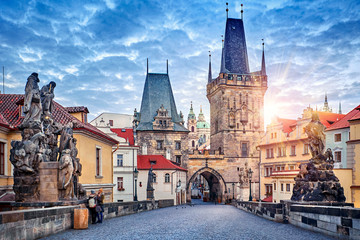 Fototapeten Prag Sunrise on Charles bridge in Prague Czech Republic picturesque