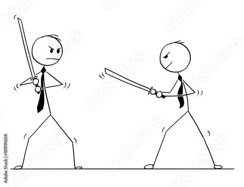 Cartoon Stick Man Drawing Conceptual Illustration Of Two Samurai