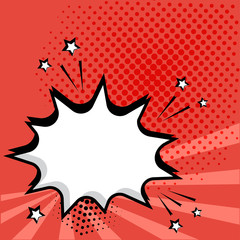 White empty comic bubble on red background. Comic sound effects in pop art style. Vector illustration.