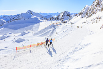 Ski resort on Stubai Glacier in Tyrol, Austria