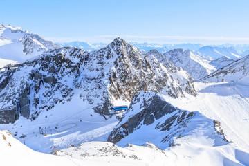 Ski resort on Stubai Glacier in Tyrol, Austria