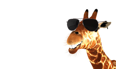 Lachende Giraffe mit Sonnenbrille Wall mural