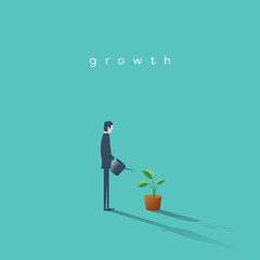Business growth vector concept with businessman watering plant. Symbol of progress, success, motivation, ambition.