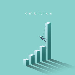 Ambition vector concept with businessman climbing on graph columns. Success, achievment, motivation business symbol.