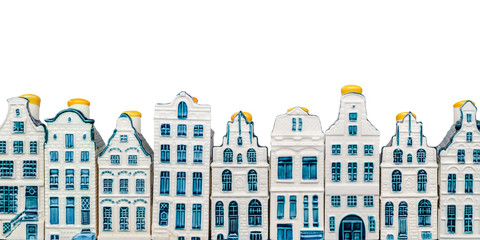 Rows of porcelain Amsterdam canal houses