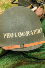 Old helmet of a war photographer