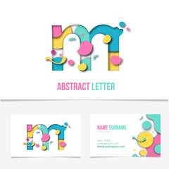 Paper cut letter m .Realistic 3D Creative Letter design. m letter template on The Business Card Template.Abstract Colorful Alphabet .Friendly funny ABC Typeface. Type Characters