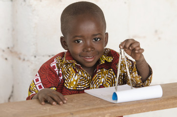 Boys in Science - Adorable African Boy Using a Compass during Geometry Class