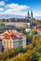 Vysehrad picturesque district in Prague, Czech Republic. Autumn