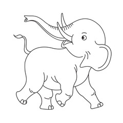 black outline baby elephant running happily vector cartoon