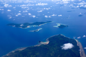 Beautiful aerial view of the islands from the plane