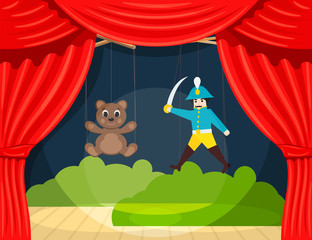 Children's Puppet Theater with puppets puppets bear and soldier. Vector illustration