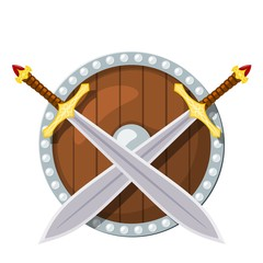 Color image of a round shield and two battle sword on a white background. Viking weaponry in Cartoon style. Vector illustration