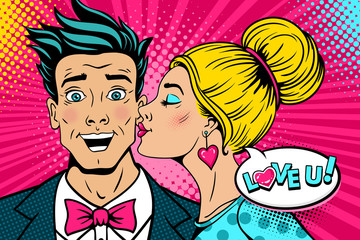 Wow couple. Happy young surprised man with open mouth and sexy woman in profile kissing him and Love you speech bubble. Vector background in retro pop art comic style. Valentines day party poster.