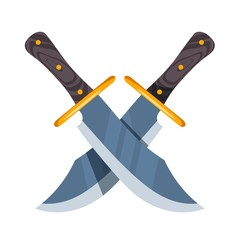 Two crossed hunter knife on white background. Vector illustration Cartoon style knives