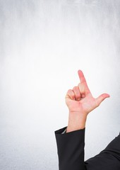Hand pointing with bright background