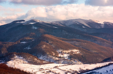 lovely countryside in winter afternoon. beautiful mountainous area with forested hills with snowy tops