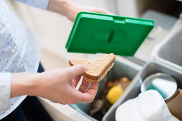 Close Of Woman Putting Food Waste Into Recycling Bin In Kitchen