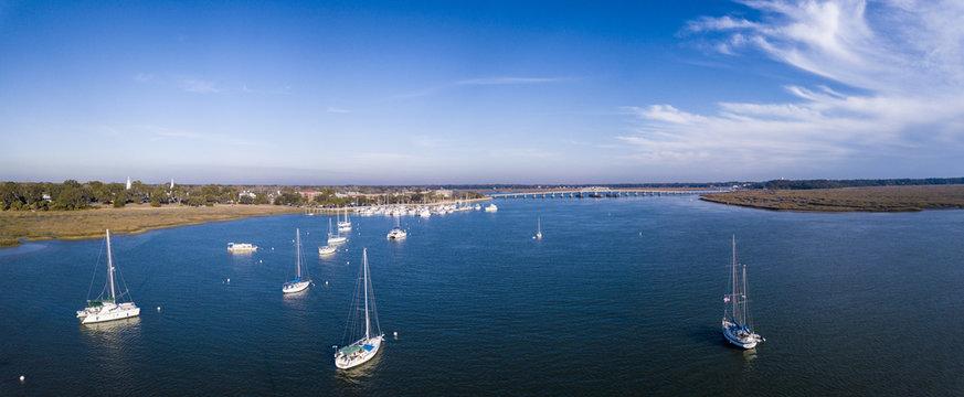 Aerial view of sailboats and harbor in South Carolina, USA