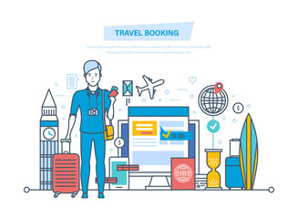 Travel booking. Hotel reservation, ticket purchase, customer service, registration.