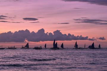 Beautiful sunset on Boracay white beach, Philippines