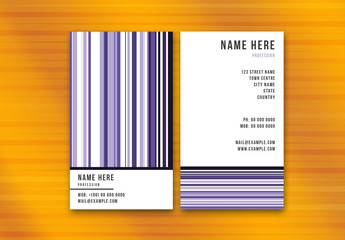 Business Card Layout with Multi-Colored Purple Stripes