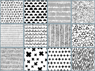 Set of vector black white hand drawn seamless pattern. Abstract watercolor, ink and marker texture and background. Trendy scandinavian design concept for fashion textile print, wrapping or packaging.