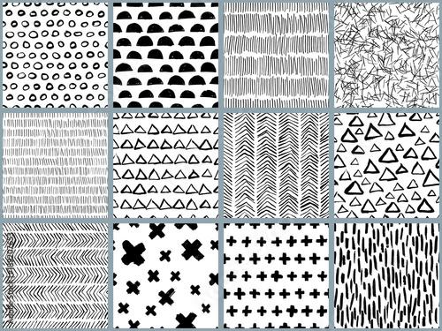 Set Of Vector Black White Hand Drawn Seamless Pattern