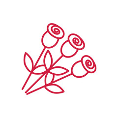 roses bouquet red line icon on white background
