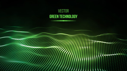 Green technology background. Green energy vector illustration eps10. Team communication concept green background. Vector presentation tech background. Wall mural