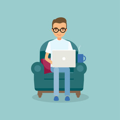 Office work and remote work, freelancing. Young man working on computer. Vector illustration in flat style.