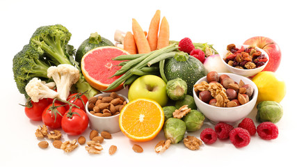 assorted health food on white background