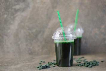 Spirulina drink in two glasses