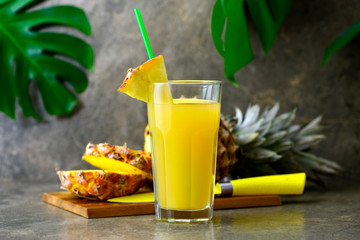 Pineapple freshly squeezed juice in a glass