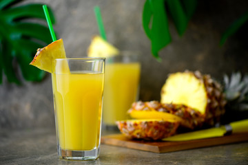 Pineapple freshly squeezed juice in two glasses