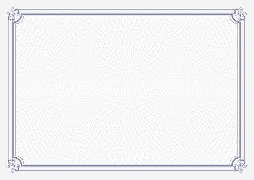 White classic certificate background with blue retro border