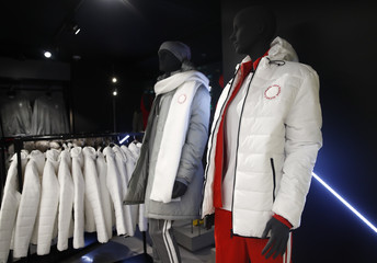 Mannequins dressed in the outfit designed by ZASPORT, the official clothing supplier for Russian athletes competing in 2018 Winter Olympics, are displayed during the uniforms presentation in Moscow