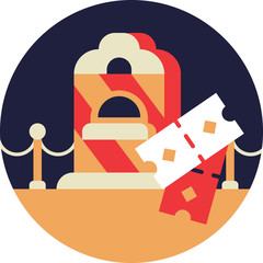 Cinema Ticket Office Icon in Flat Style