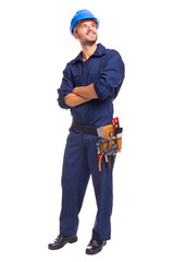 Full length of a young worker standing on a white background