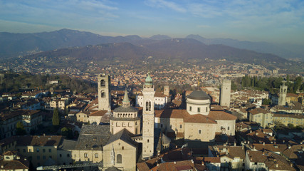 Aerial shooting with drone on Bergamo, famous and ancient Lombardia city, founded on the hills