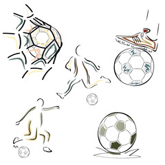 Set of football symbols vector images in minimal linear style isolated on white. Ball in gate, football player, football boots sign. Emblem for stadium, sports shop, football school, competition.